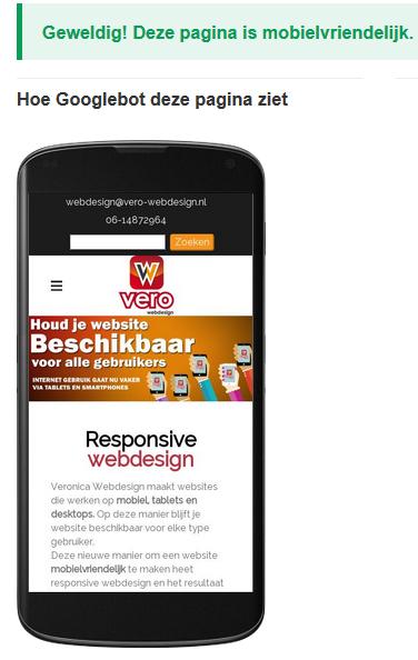 Mobielvriendelijke-test Veronica Webdesign Assen